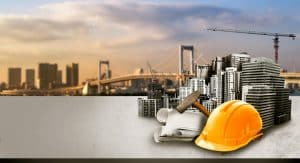 Maryco Cleaning Service: We clean engineering firms near Indianapolis (a cityscape on a body of water with a cluster of engineering tools - hard hat, a building partially constructed, a sledge hammer, a cityscape)